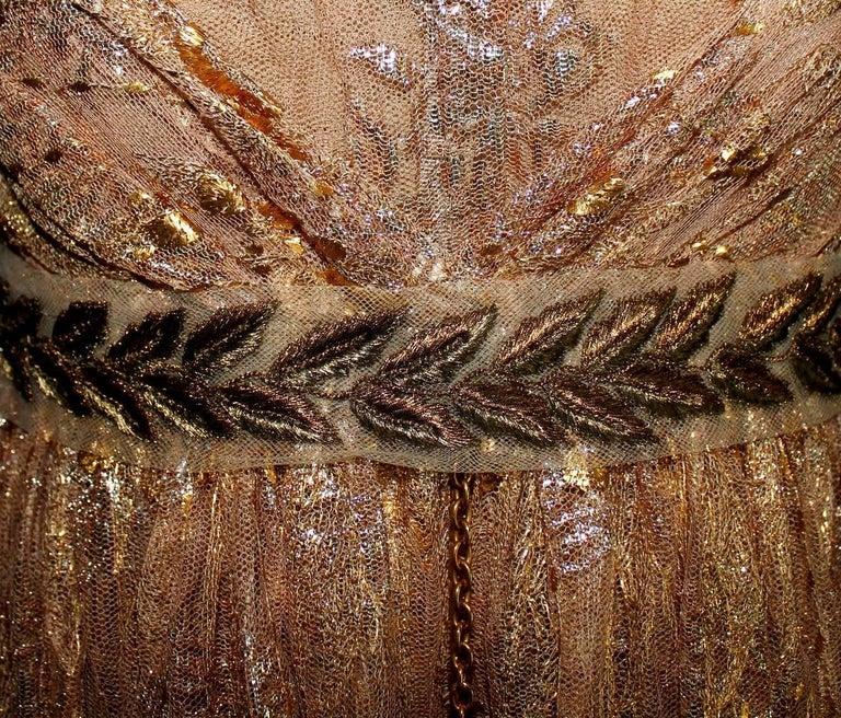 Brown Breathtaking Dolce & Gabbana Golden Lace Tassel Empire Evening Dress Gown For Sale