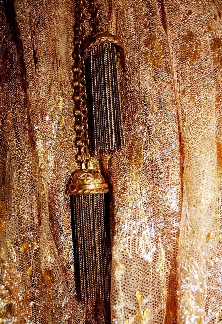 Women's Breathtaking Dolce & Gabbana Golden Lace Tassel Empire Evening Dress Gown For Sale