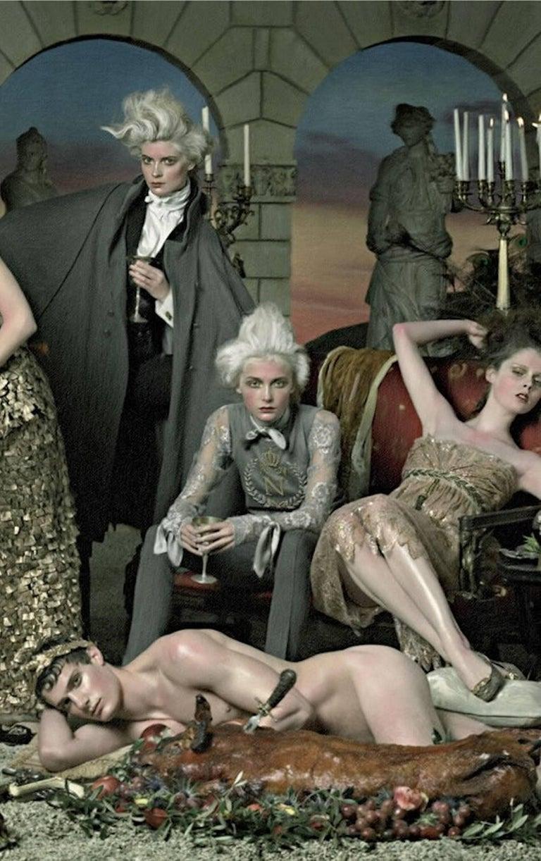 Breathtaking Dolce & Gabbana Golden Lace Tassel Empire Evening Dress Gown For Sale 2