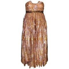 Breathtaking Dolce & Gabbana Golden Lace Tassel Empire Evening Dress Gown