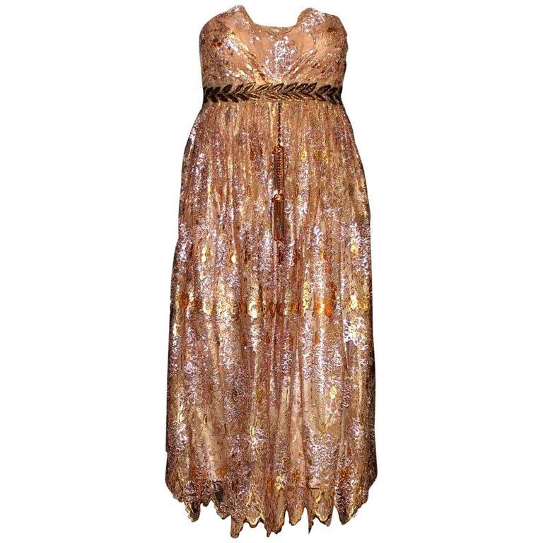 Breathtaking Dolce & Gabbana Golden Lace Tassel Empire Evening Dress Gown For Sale