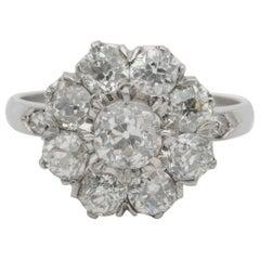 Breathtaking Edwardian 3.15 Carat Old Diamond Platinum Engagement Cluster Ring