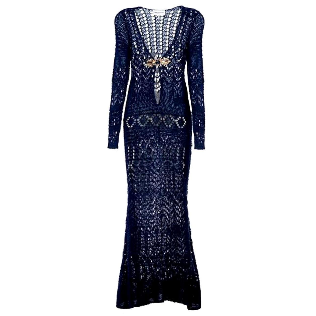 NEW Breathtaking Emilio Pucci Crochet Knit Evening Gown Maxi Dress