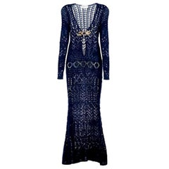 Breathtaking Emilio Pucci Crochet Knit Evening Gown Dress