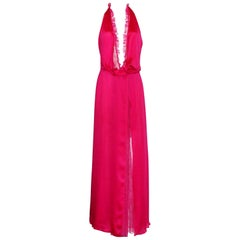 Breathtaking Gianni Versace Couture Hot Pink  Lace Evening Gown 2000 Collection