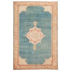 "Breathtaking Light Blue Antique Turkish Oushak Rug. Size: 10' 7"" x 16' 8"""