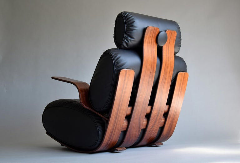 Breathtaking Mid-Century Modern Leather and Plywood Rocking Chair For Sale 2