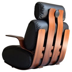 Breathtaking Mid-Century Modern Leather and Plywood Rocking Chair