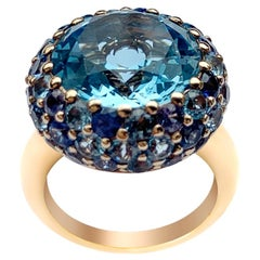 Breathtaking Modern Blue Topaz Sapphire Yellow 18 Karat Gold Ring