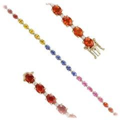 Breathtaking Multi Sapphire Diamond 14 Karat White Gold Tennis Bracelet for Her