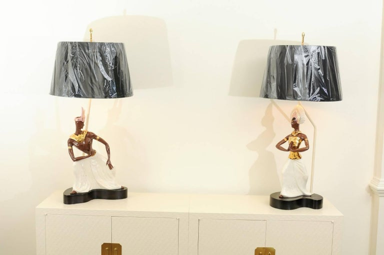 Breathtaking Pair of Exotic Large-Scale Marc Bellaire Lamps, circa 1958 For Sale 7