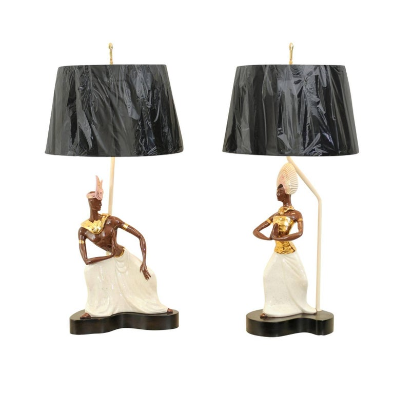 Breathtaking Pair of Exotic Large-Scale Marc Bellaire Lamps, circa 1958 For Sale