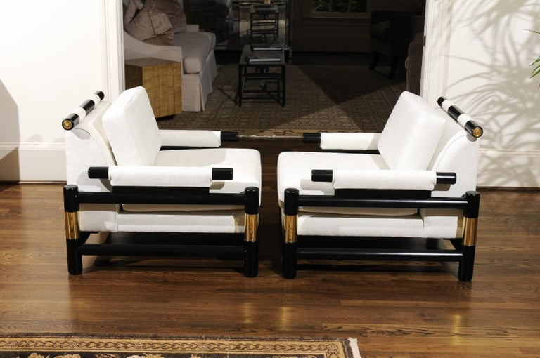 Breathtaking Pair of Modern Floating Pagoda Club Chairs by Baker, circa 1980 In Excellent Condition For Sale In Atlanta, GA