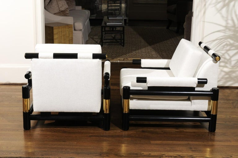 Late 20th Century Breathtaking Pair of Modern Floating Pagoda Club Chairs by Baker, circa 1980 For Sale