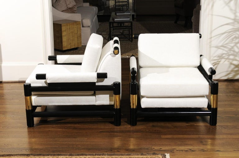 Brass Breathtaking Pair of Modern Floating Pagoda Club Chairs by Baker, circa 1980 For Sale