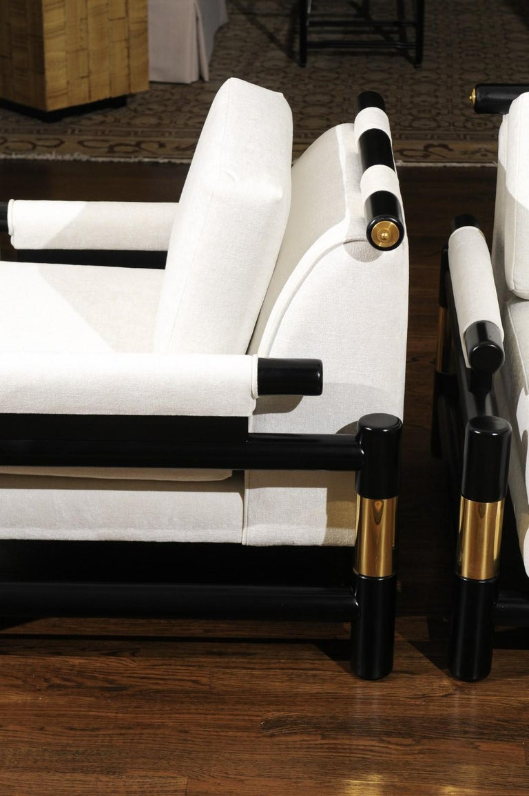 Breathtaking Pair of Modern Floating Pagoda Club Chairs by Baker, circa 1980 For Sale 1