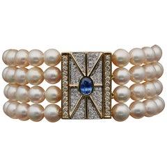 Breathtaking Pearl Diamond Natural Sapphire Midcentury Cocktail Bracelet