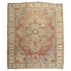 Breathtaking Persian Antique Heriz Serapi Room Size Early 20th Century Rug