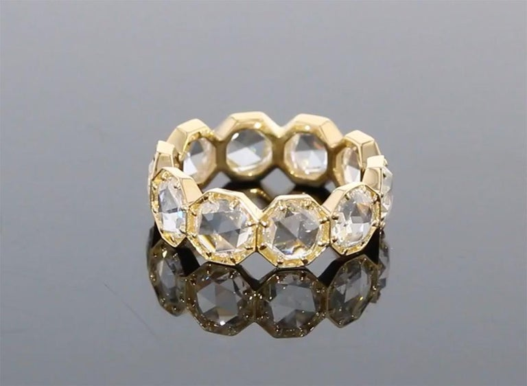 Breathtaking Rose Cut Diamond Eternity Band, So Unique In New Condition For Sale In Los Angeles, CA