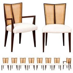 Breathtaking Set of 10 Modern V-Back Cane Chairs by Michael Taylor, circa 1960