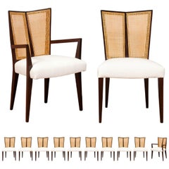 Breathtaking Set of 12 Modern V-Back Cane Chairs by Michael Taylor, circa 1960