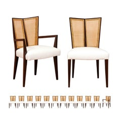 Breathtaking Set of 14 Modern V-Back Cane Chairs by Michael Taylor, circa 1960