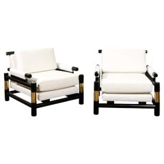 Breathtaking Set of 4 Modern Floating Pagoda Club Chairs by Baker, circa 1980