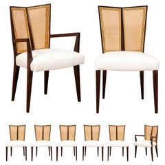 Breathtaking Set of 8 Modern V-Back Cane Chairs by Michael Taylor, circa 1960