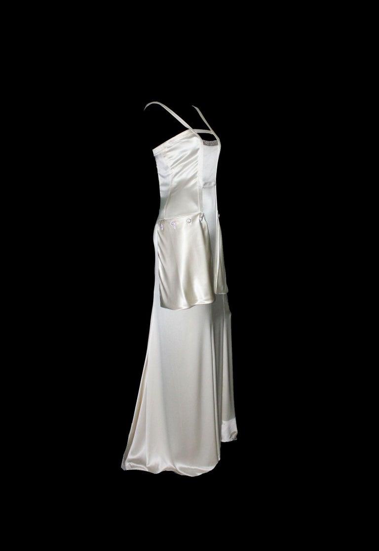 Gray Breathtaking Valentino Silk Crystal Evening Wedding Bridal Goddess Gown Dress For Sale