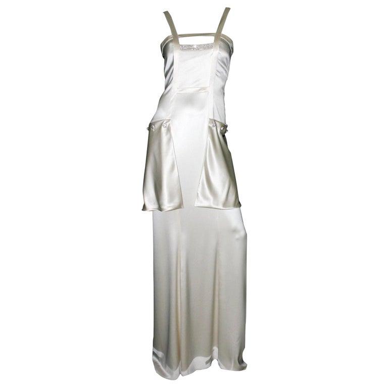 Breathtaking Valentino Silk Crystal Evening Wedding Bridal Goddess Gown Dress For Sale
