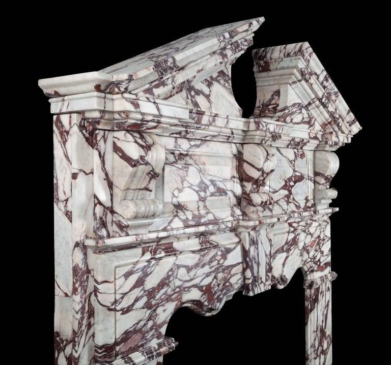 Palladian Ryan & Smith Pearce Breccia Viola Marble Mantelpiece For Sale