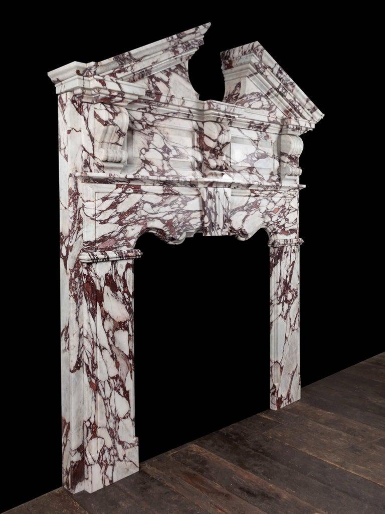 Northern Irish Ryan & Smith Pearce Breccia Viola Marble Mantelpiece For Sale
