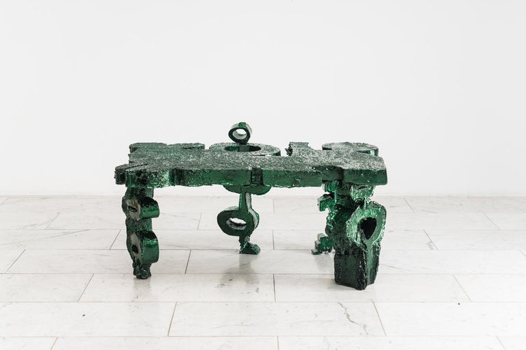 Ode to the Wrong Angle is a series comprised of sculptural vessels and furniture created through the artist's experiments in his studio employing unique materials and textures. Gander begins with found objects, which though sculpting and