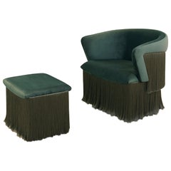 Breeze Armchair, Upholstered in Green Velvet, Silk Fringes, Rotating Feet