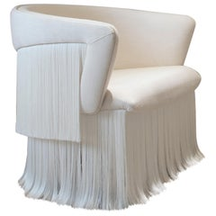 Breeze Armchair, Upholstered in Linen and Off-white Silk Fringes, Rotating Feet