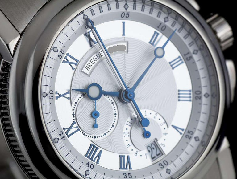 Breguet 18 Karat White Gold Silver Dial Marine Chronograph B&P 5827BB/12/BZ0 In Excellent Condition For Sale In London, GB