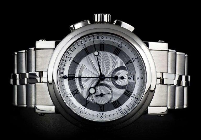 Men's Breguet 18 Karat White Gold Silver Dial Marine Chronograph B&P 5827BB/12/BZ0 For Sale