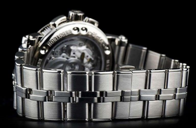 Breguet 18 Karat White Gold Silver Dial Marine Chronograph B&P 5827BB/12/BZ0 For Sale 2