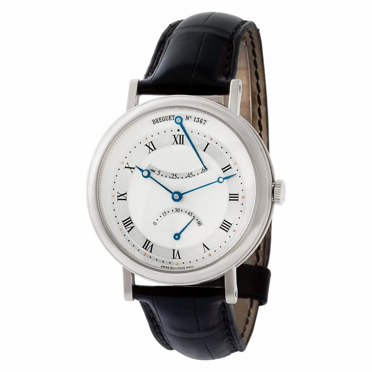 Breguet Classique Reference #:5207BA129V6. Breguet Classique in 18k white gold on leather strap with 18k white gold deployant buckle. Auto w/ retrograde seconds and power reserve. 40 mm case size. Ref 5207. Circa 2000s. Fine Pre-owned Breguet Watch.
