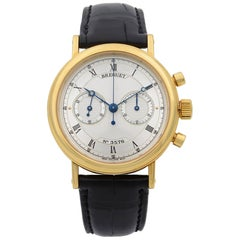 Breguet Classique Chronograph 18k Gold Silver Dial Hand Wind Men's Watch 5237