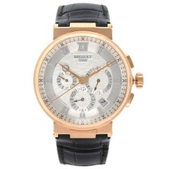 Breguet Marine Chronographe18k Rose Gold Silver Dial Men's Watch 5517BR/12/9WV