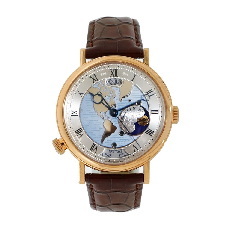 "Breguet Rose Gold Classique ""Hora Mundi"" Self-Winding Wristwatch For Sale"