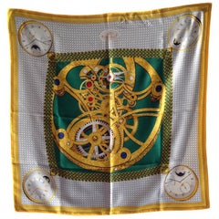 BREGUET Scarf 'Les Montres' in Gray, Gold and Dark Green Silk