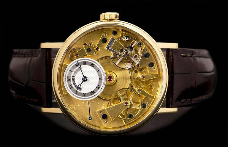 Men's Breguet Tradition Yellow Gold Champagne Open Worked Dial 7037BA/11/9V6 Watch For Sale