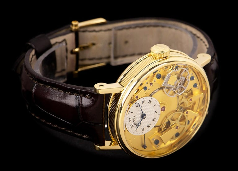 Breguet Tradition Yellow Gold Champagne Open Worked Dial 7037BA/11/9V6 Watch For Sale 1