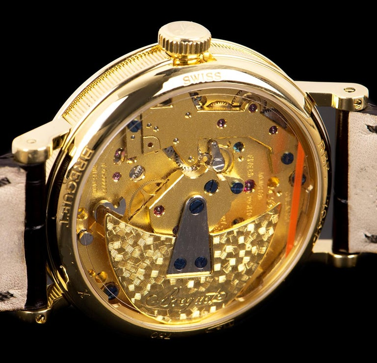 Breguet Tradition Yellow Gold Champagne Open Worked Dial 7037BA/11/9V6 Watch For Sale 3