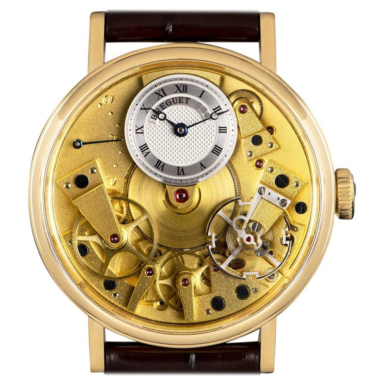 Breguet Tradition Yellow Gold Champagne Open Worked Dial 7037BA/11/9V6 Watch For Sale