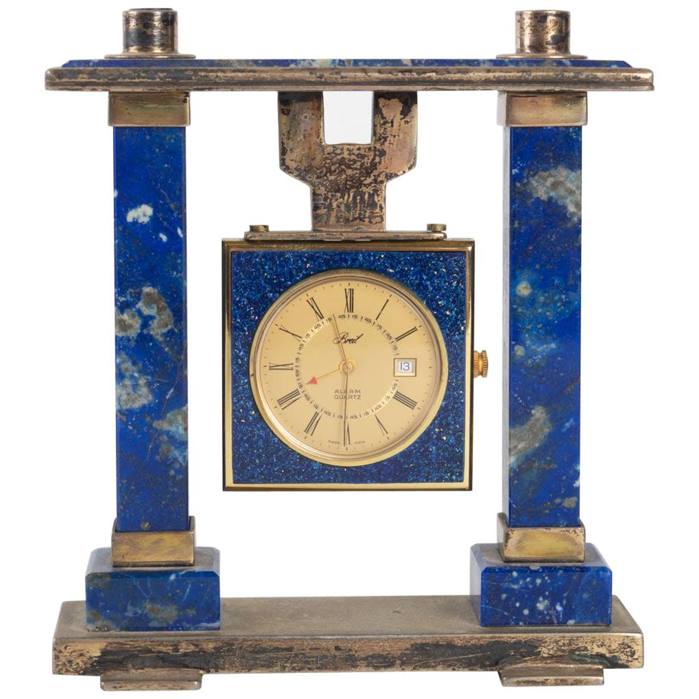 Breil Desk Clock in Lapis Lazuli and Gilded Metal
