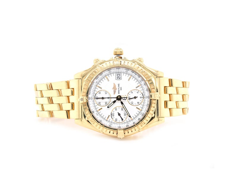 Brand: Breitling Movement: automatic Function: hours, minutes, seconds, date, chronometer, 70-hour power reserve Case: round 40mm 18K yellow gold case, scratch-resistant sapphire crystal, water-resistant to 100m,  push/pull crown, 18K yellow gold
