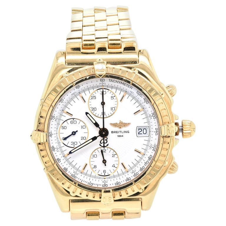 Breitling 18 Karat Yellow Gold Chronomat For Sale